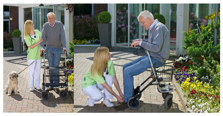 Collage of Smiling Blond Nurse helping Senior Man Outdoors in front of Retirement Building on Sunny Day – Shutterstock Image ID 295359311 and 293983016 - Copyright Belushi